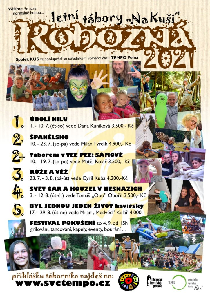 plakátek s nabídkou všech plánovaných letních táborů 2021